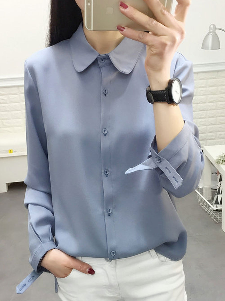 Autumn Spring  Polyester  Women  Turn Down Collar  Single Breasted  Plain Blouses