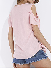 Open Shoulder  Decorative Lace  Plain Short Sleeve T-Shirt