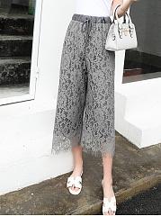 Solid-Lace-Hollow-Out-Plain-Wide-Leg-Cropped-Pants