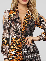 Deep V-Neck  Animal Printed Bodycon Dress