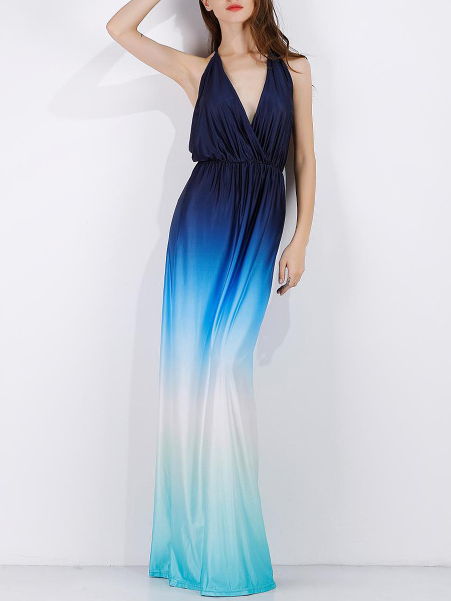 Gradient Halter  Elastic Waist  Maxi Dress