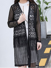 Decorative Lace Patch Pocket See-Through  Plain Cardigans