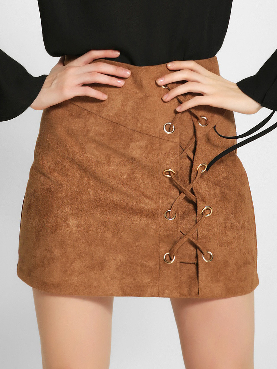 Hot Lace-Up  Plain  A-Line Mini Skirt