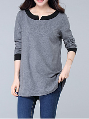Autumn Spring  Cotton  Women  Round Neck  Patchwork  Contrast Piping  Plain Long Sleeve T-Shirts