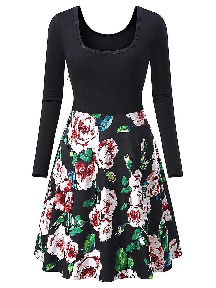 Long Sleeve Floral Printed Skater Dress