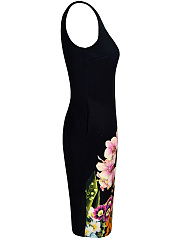 Elegant Round Neck  Slit  Floral Printed  Bodycon Dress