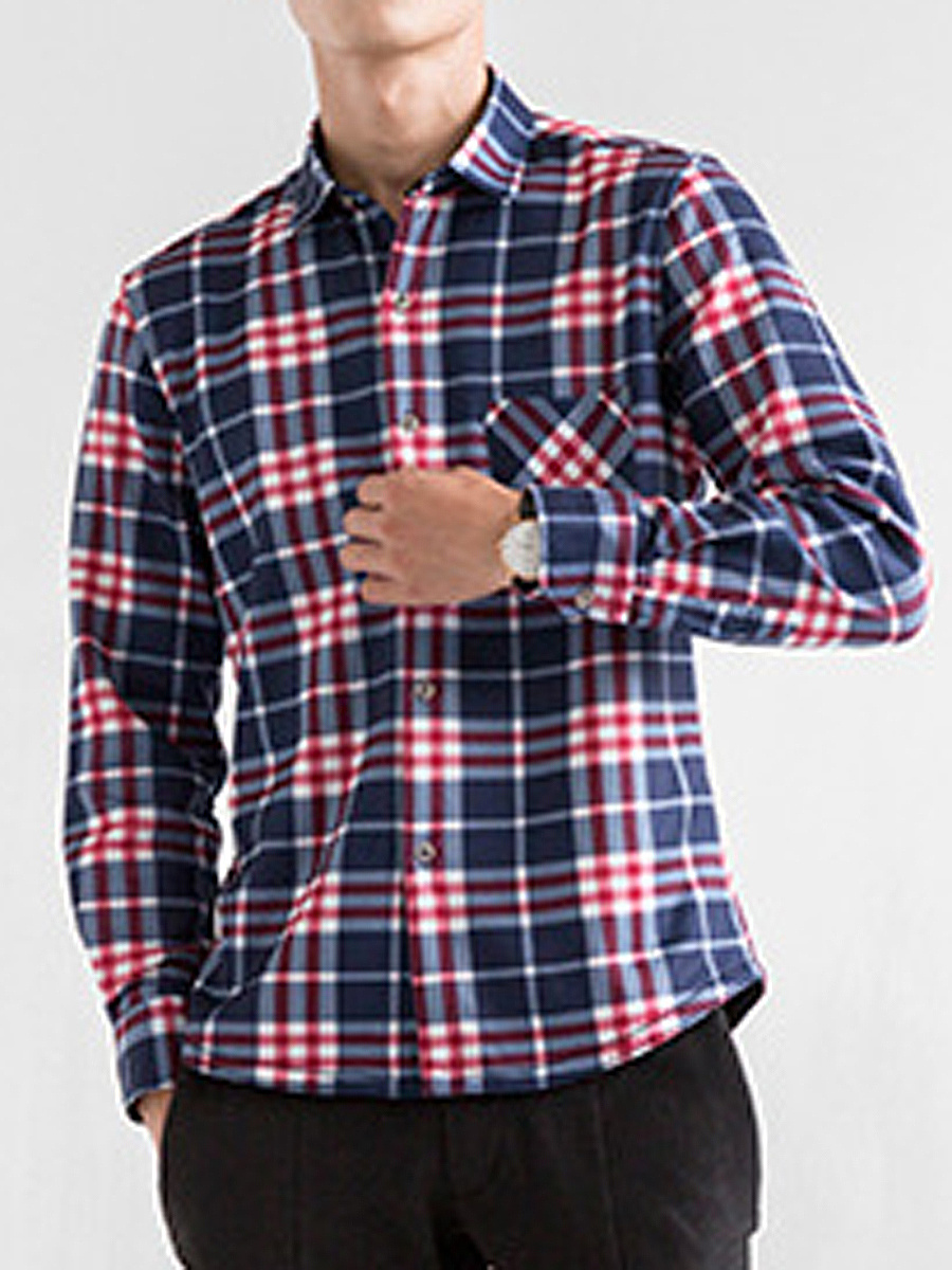 Men Plaid Fleece Lined Patch Pocket Shirts