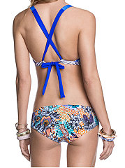Backless  Abstract Print Bohemian  Mid-Rise Bikini
