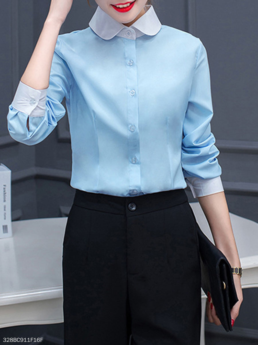 Autumn Spring  Cotton  Women  Doll Collar  Single Breasted  Color Block  Long Sleeve Blouses