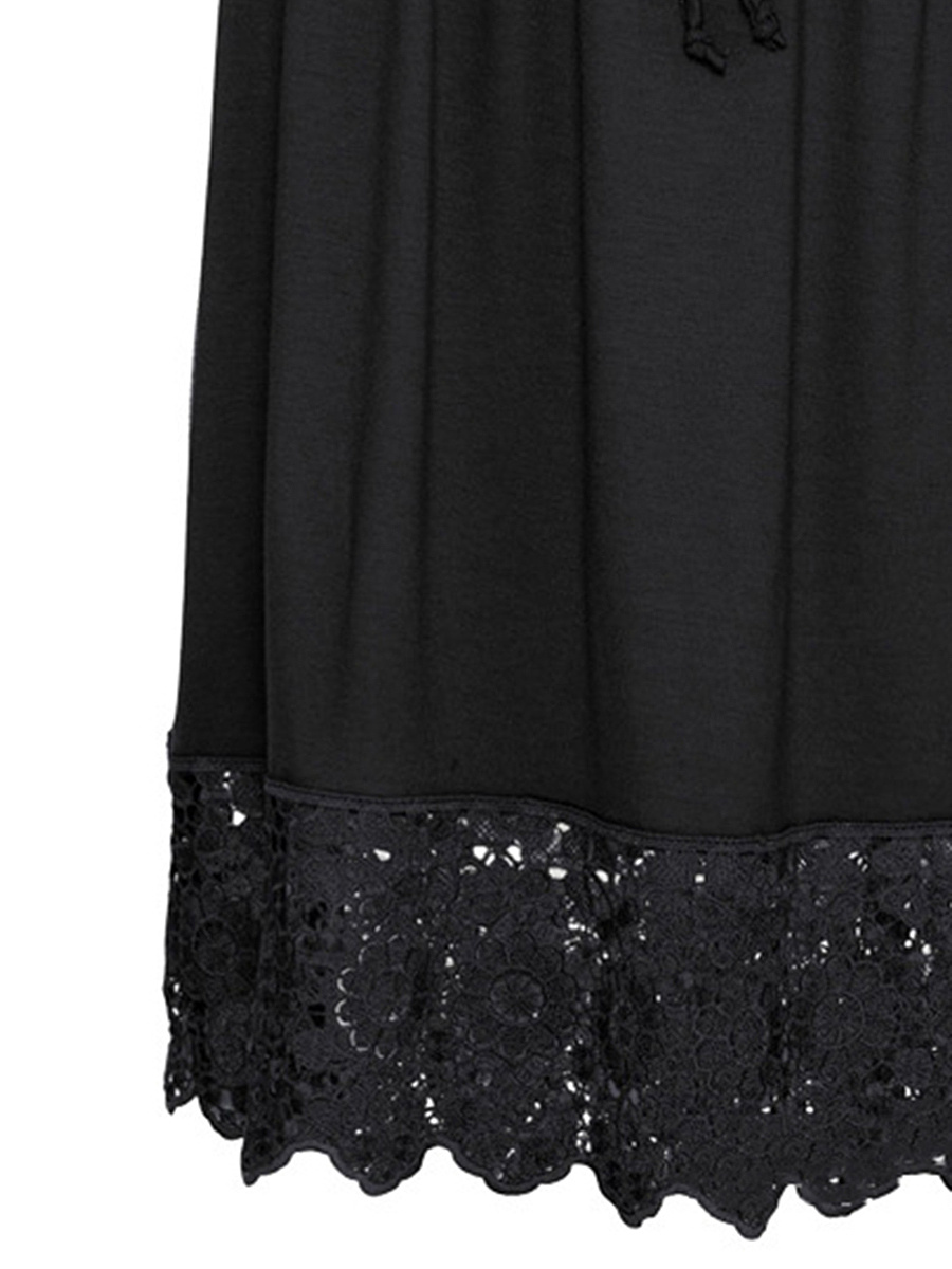 Off Shoulder Decorative Lace Flounce Plain Skater Dress