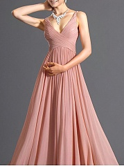 Surplice  Ruched  Plain Evening Dress