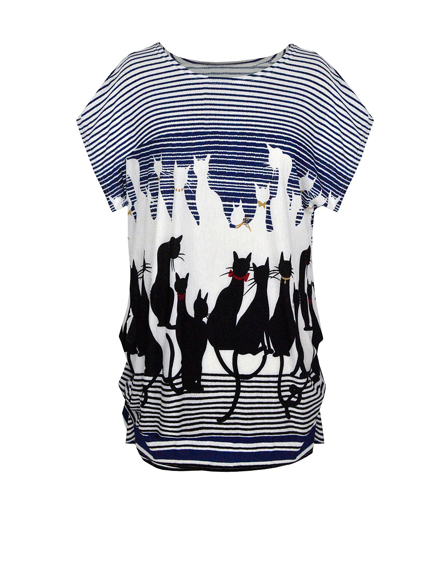 Cat Striped Printed Plus Size T-Shirt
