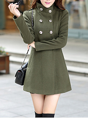 High Neck Plain Double Breasted Pocket Woolen Coat