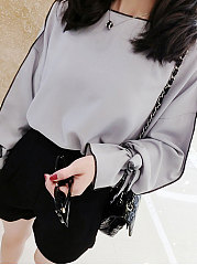 Autumn Spring Chiffon Women Round Neck Plain Tie Sleeve Long Sleeve Blouses