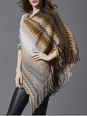 Crew Neck Fringe Zigzag Striped Cape