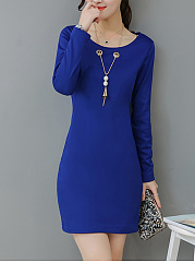 Round Neck  Plain Choker Date Shift Dress