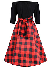 Off Shoulder Plaid Bowknot Skater Dress