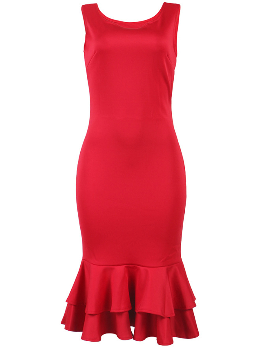 Round Neck  Plain Mermaid Bodycon Dresses