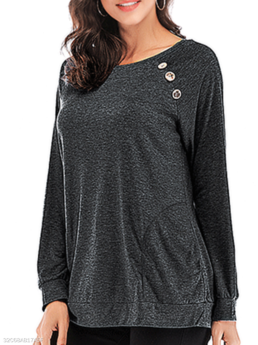 Round Neck  Decorative Buttons  Plain Long Sleeve T-Shirts