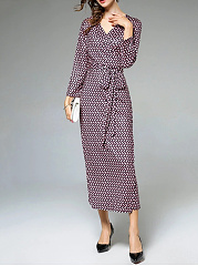 Graceful V-Neck Bowknot Printed Maxi Dress