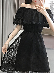 Off Shoulder  Elastic Waist Ruffle Trim Ruffled Hem  Lace Plain Skater Dress