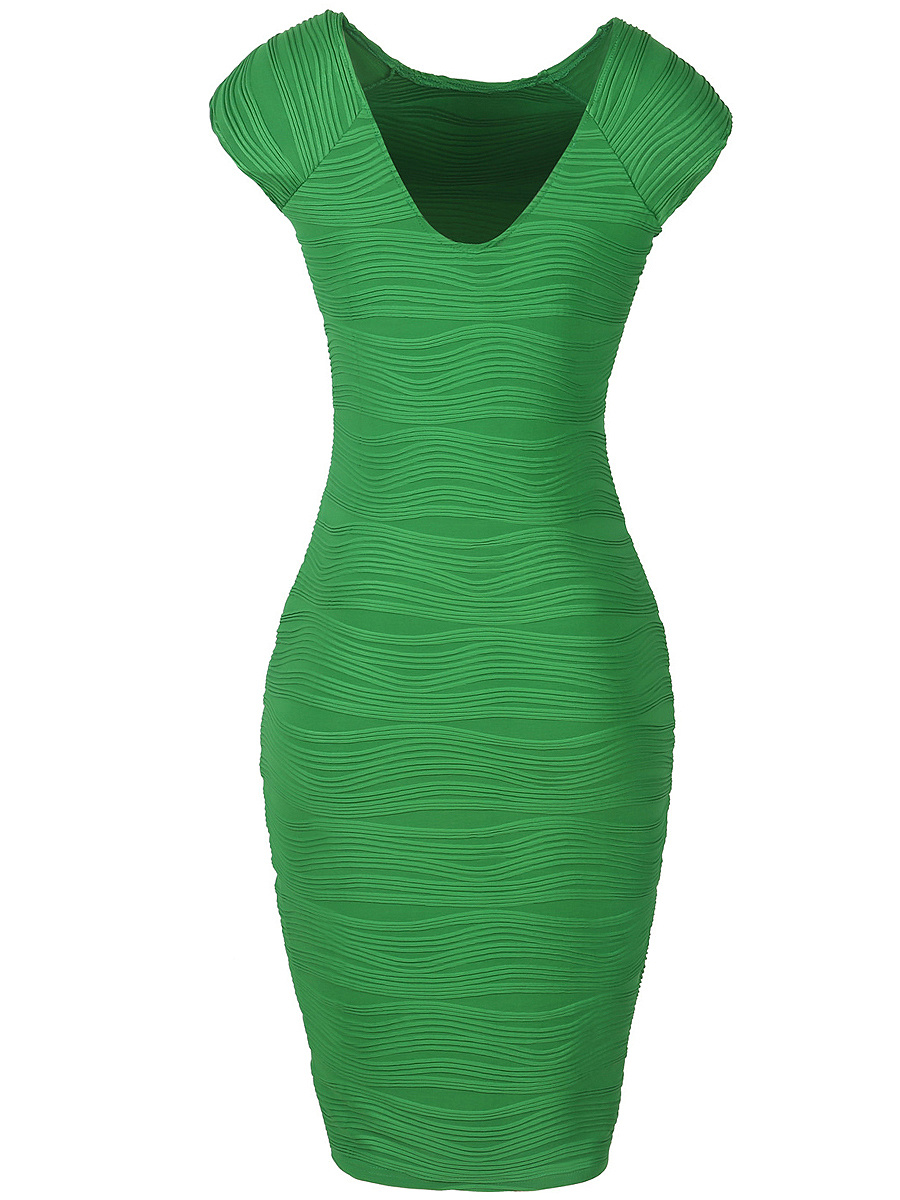 Plain V-Neck  Blend Bodycon Dress