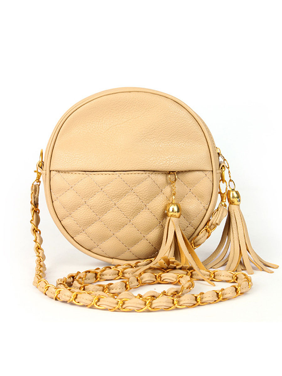 Pu Quilted Round Crossbody Bag
