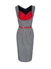 Color Block Houndstooth Pleated Bodice Bodycon Dress