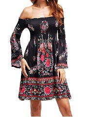 Off Shoulder Smocked Bodice Tribal Printed Bell Sleeve Skater Dress