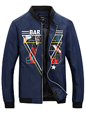 Band Collar Pocket Number Printed Men Jacket
