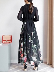 Doll Collar Floral Printed Hollow Out Chiffon Maxi Dress