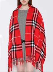 Soft Warm Woolen Plaid Scarf With Packet Decoration For Winter