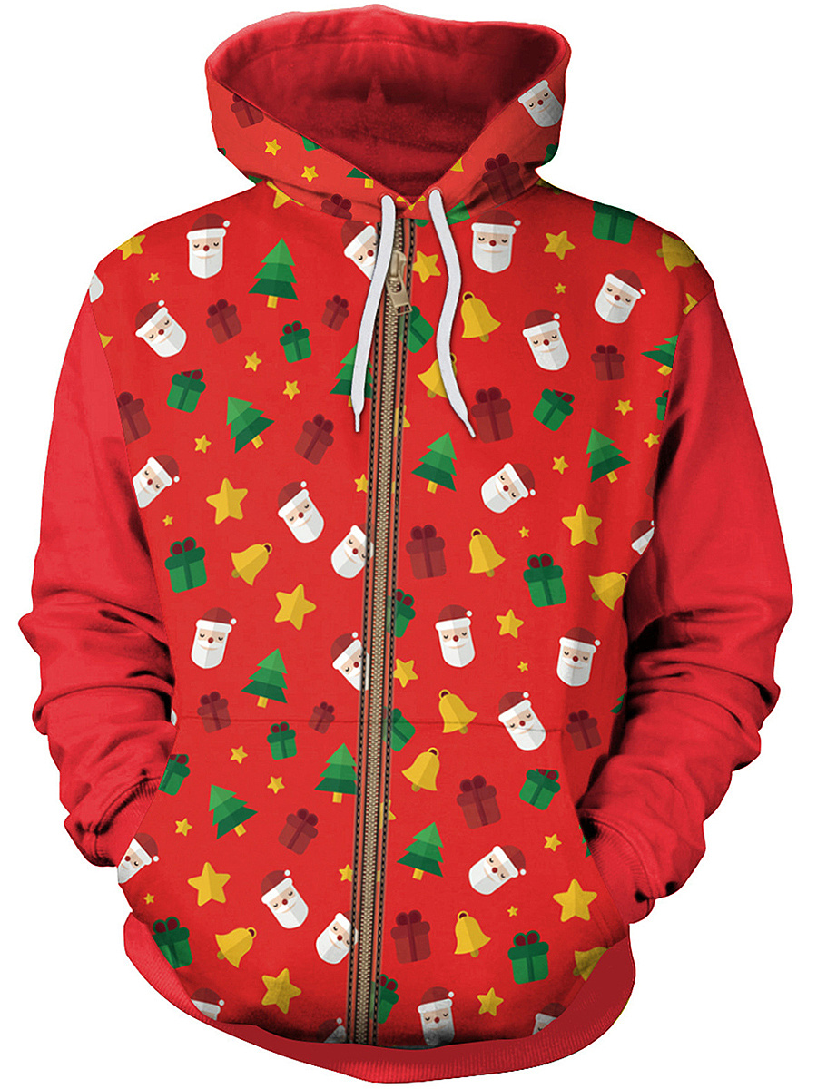 Lovely Christmas Printed Patch Pocket Hoodie