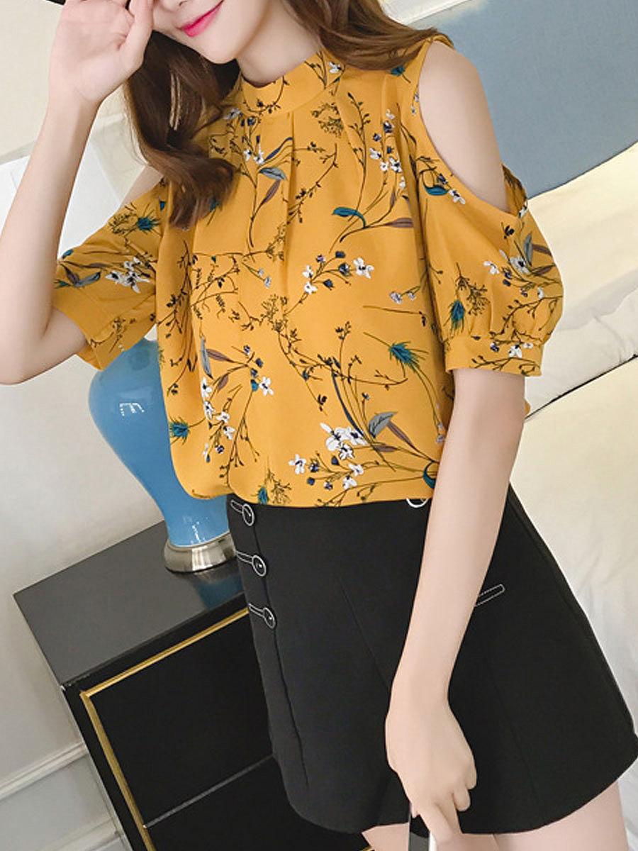 Spring Summer  Polyester  Women  Open Shoulder  Floral Printed  Short Sleeve Blouses