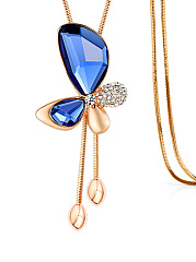 Imitated Crystal Butterfly Pendant Alloy Necklace