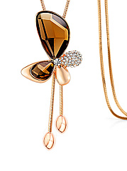 Crystal Butterfly Pendant Gold Necklace