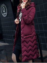 Hooded  Zips  Quilted  Plain  Long Sleeve Coats
