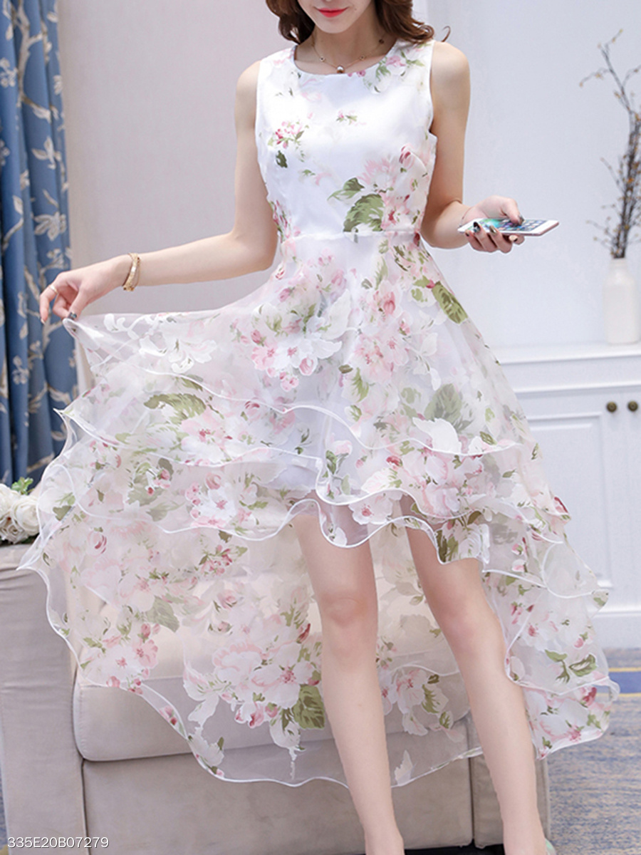 Round Neck High-Low Tiered Floral Hollow-Out Skater Dress