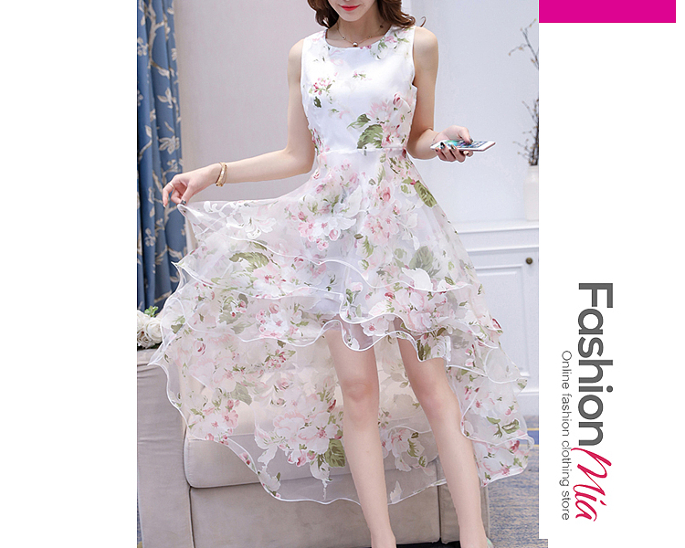 material:polyester, collar&neckline:round neck, sleeve:sleeveless, more_details:tiered, pattern_type:floral*hollow out, length:high-low, dress_silhouette:flared, occasion:date, season:spring*summer, package_included:dress*1, length:98,bust:78-82,waist:68,
