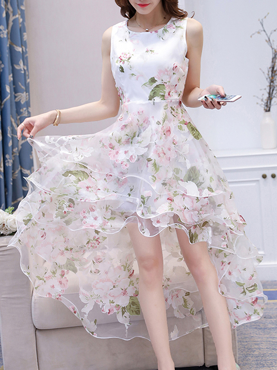 Round Neck High-Low Tiered Floral Hollow Out Skater Dress
