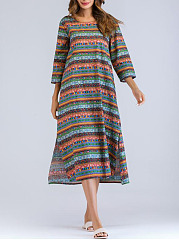 Round Neck Casual  Printed Cotton  Maxi Dress
