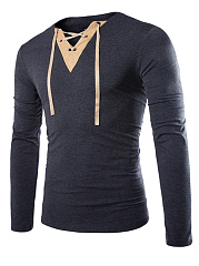Split Neck  Contrast Trim Lace-Up  Long Sleeve Long Sleeves T-Shirts