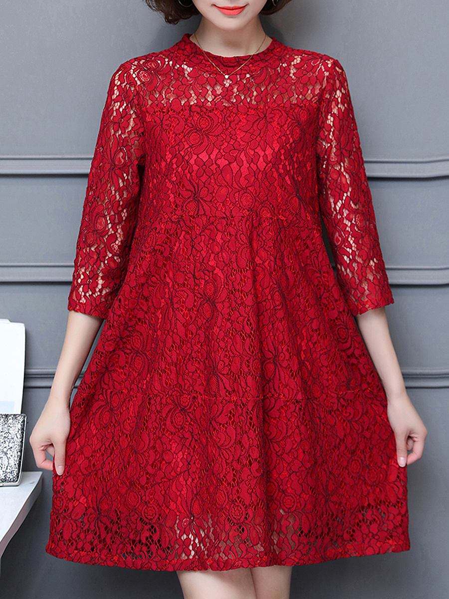 Band Collar Hollow Out Plain Lace Shift Dress