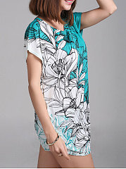 Summer  Polyester  Women  Round Neck  Asymmetric Hem  Floral Printed  Short Sleeve Short Sleeve T-Shirts