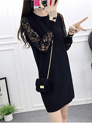 Round Neck  Patchwork  Hollow Out Plain Shift Dress
