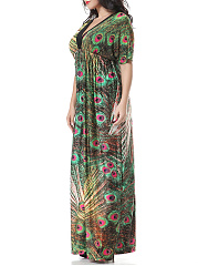 Deep V-Neck Empire Plus Size Maxi Dress In Feather Printed