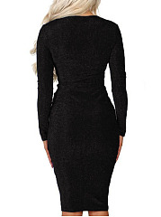 Deep V-Neck  Ruched  High Stretch  Plain Bodycon Dress