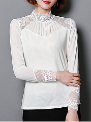 Autumn Spring  Women  Decorative Lace  Plain Long Sleeve T-Shirts