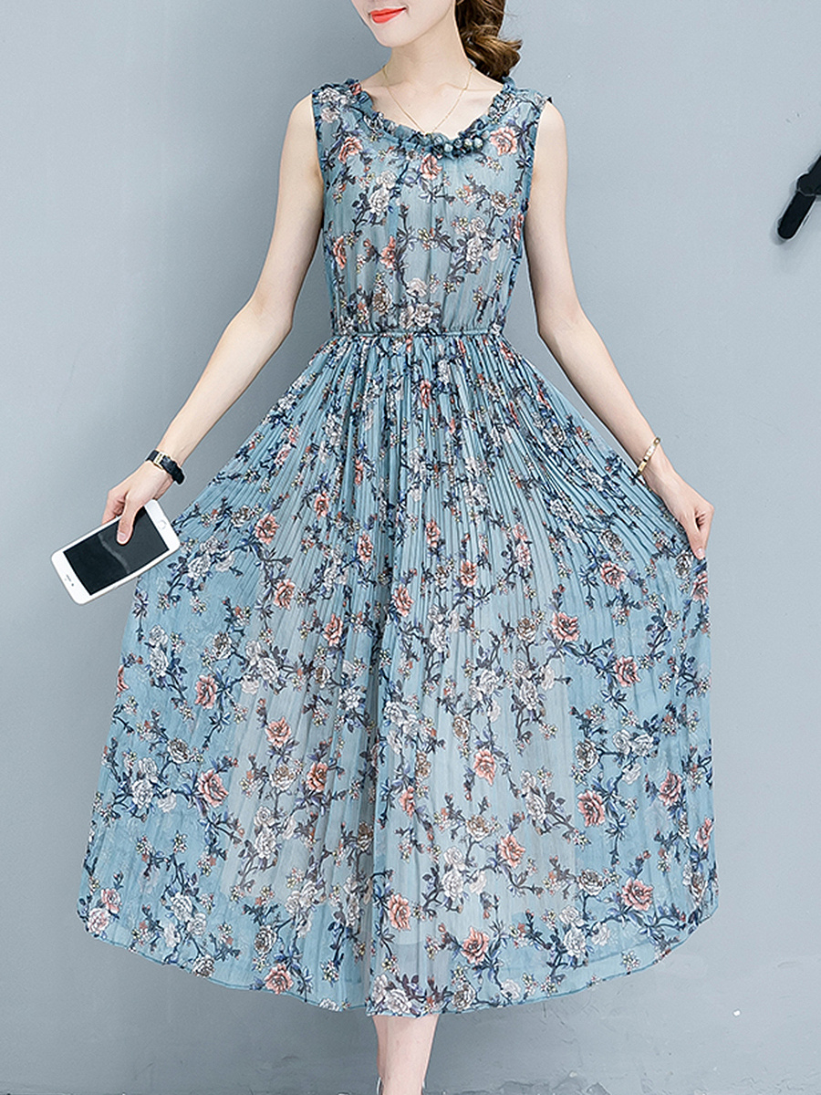 Round Neck Floral Printed Chiffon Pleated Maxi Dress