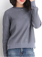 Round Neck  Plain Striped  Long Sleeve Sweaters Pullover